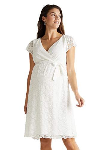 ESPRIT Maternity Damen Kleid Umstandskleid Drapiertes Jersey-Kleid mit Stillfunktion B2084262 (42, Farbe: Offwhite (110)