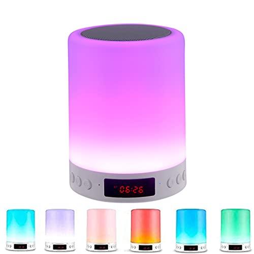 Night light Lámpara de Mesa Smart Touch Luz de Noche LED Regulable Lámpara de Noche Recargable Altavoz Bluetooth Inalámbrico Pantalla de Reloj Despertador por Cuarto Regalo Dormido