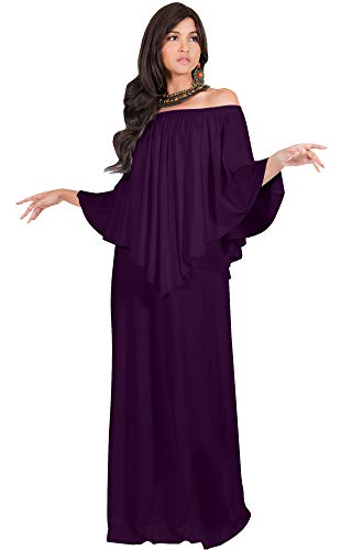 KOH KOH Womens Long Strapless Shoulderless Flattering Cocktail Evening Off The Shoulder Cold Sexy Evening Flowy Formal Slimming Gown Gowns Maxi Dress Dresses, Purple L 12-14