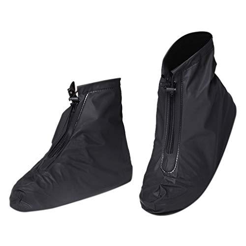 SIXCUP®1Paar Unisex Regenüberschuhe Wasserdicht Schuhe Abdeckung Stiefel Flache Regen Überschuhe Mehrweg Regenkombi Schuhüberzieher Rutschfestem Galoschen (Black, S)
