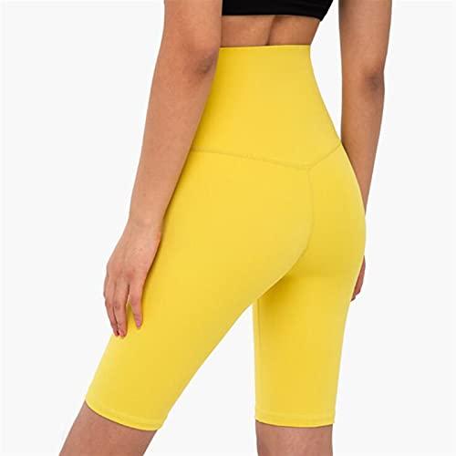 Mujer alta cintura de yoga pantalones cortos sin fisuras hip-up apretado elástico deportivo pantalones cortos de verano (Color : Yellow, Size : Large)