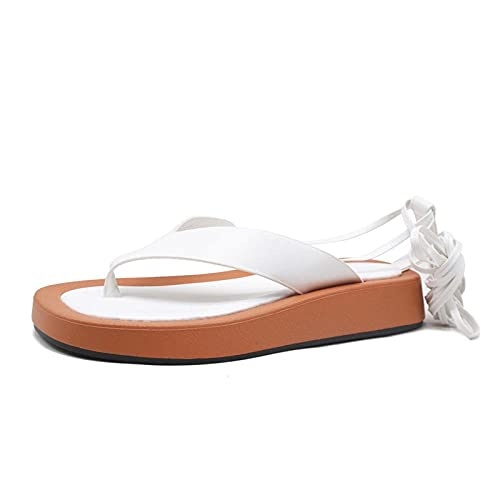 Sandalias de Dedo del pie,Pintura con Sandalias, Talla de Pino de Fondo Grueso Cinturón Retro Sandalias de Playa-Blanco_39,Sandles Antideslizante