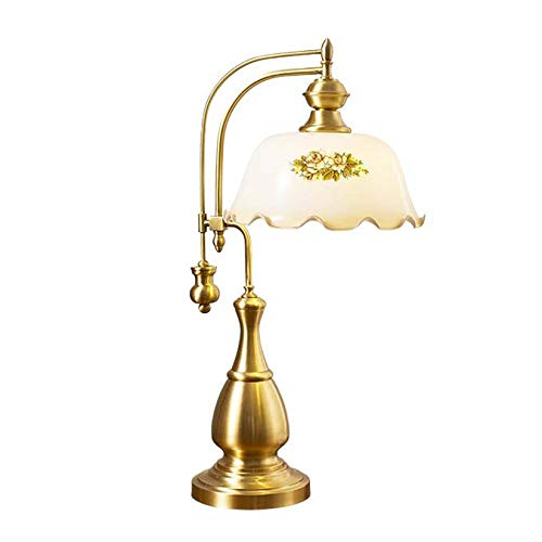 AIBOTY Lámpara de Escritorio Vintage Moderna, Pantalla de Cristal Blanco de Flores pastorales con Base Antideslizante de Cobre para iluminación de luz de Mesa de Sala de Estar de Dormitorio,A