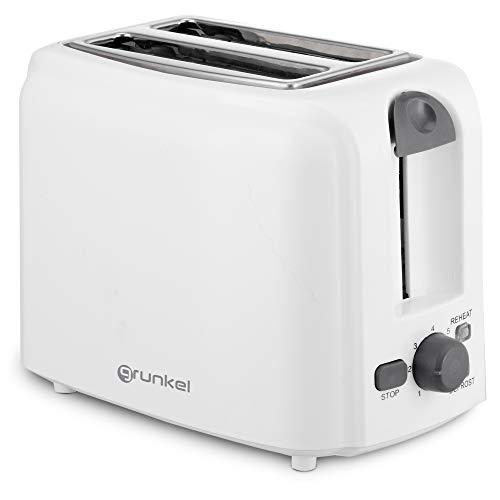 Grunkel - Tostadora de Doble Ranura para Pan de Molde de 760W de Potencia. Función Calentar sin tostar y descongelar. 7 Niveles de Tostado y Bandeja Recoge Migas. Modelo TSB-F2