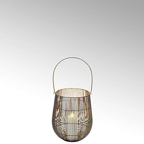Lambert - Laterne, Kerzenhalter, Windlicht - OSAKA -mit Griff - Schwarz/Gold - klein - Höhe 36 cm