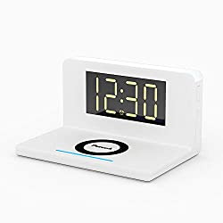 New Pointuch Fast 5 to 10W Wireless Charger with Alarm Clock Four Level Brightness Bedside Light Alarm Clock and with QC3.0 USB Plug Compatible with iPhone and Other Android Phones(L-Shape White)