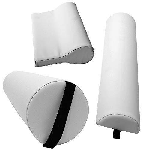 Massagezubehör Set 3 bestehend aus 1x Vollrolle Knierolle mit Griff 1x Lagerungsrolle Halbrolle und 1x Nackenkissen Kopfstütze für die Massageliege wasserabweisend in Weiß