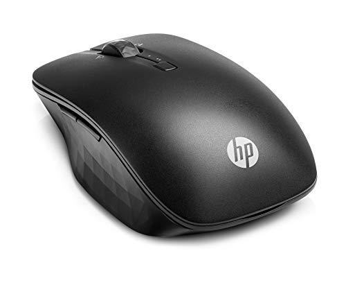 HP - PC Bluetooth Travel Mouse wireless, sensore track-on-glass, navigazione dual-device, quattro pulsanti programmabili, Nero
