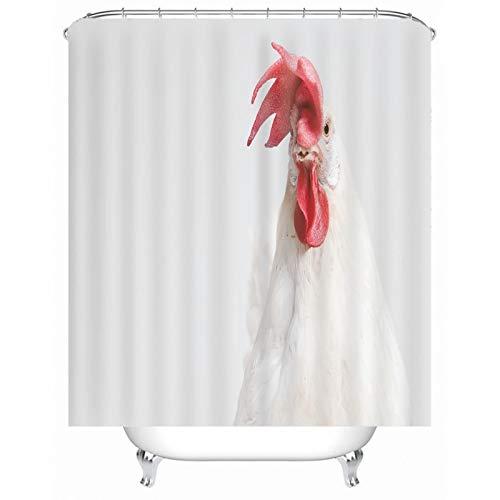 Cenliva Duschvorhang XXL, Duschvorhang Bunt Pastell Weiß Shower Curtains Hühner Polyester