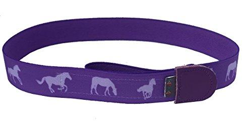 Ed&Kids Kindergürtel Ohne Schnalle Elastisch Größenverstellbar Pferde lila Größe M