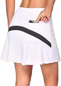COOrun Falda deportiva para mujer con pantalón interior, mini falda Blanco XL