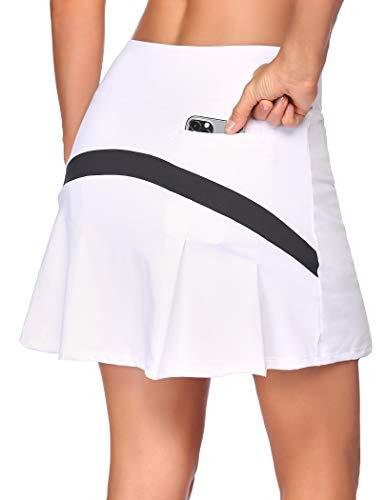 COOrun Falda deportiva para mujer, con pantalón interior, mini falda para tenis, golf, yoga, con bolsillos Blanco XXL