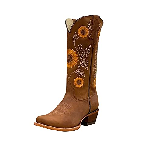 Boots Womens Round Toe Western Cowboy Boots Mid Calf - Women's Leather Western Boot with Embroidered Zipper Cowboy Boots Western Cowboy Boots with Handles on Both Sides Orange