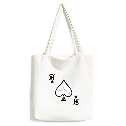 Taurus Sternbild Sternzeichen Handtasche Handtasche Craft Poker Spaten waschbare Tasche