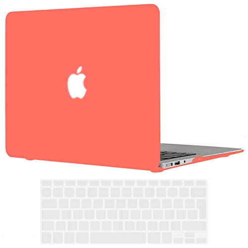 TECOOL MacBook Air 13 inch Case 2010-2017 (Model: A1466 / A1369), Slim Plastic Hard Shell Snap on Protective Case with Transparent Keyboard Cover for MacBook Air 13.3 - Coral Orange