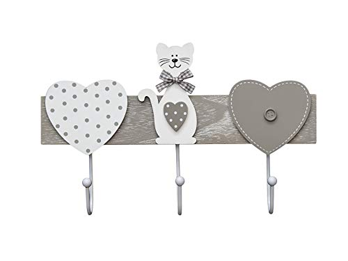 Perchero de pared colgador de pared 3 tres ganchos para pared o puerta, madera original diseño de gato y corazón en color gris y blanco Coat Hooks Wall Clothes Rack Cat Design