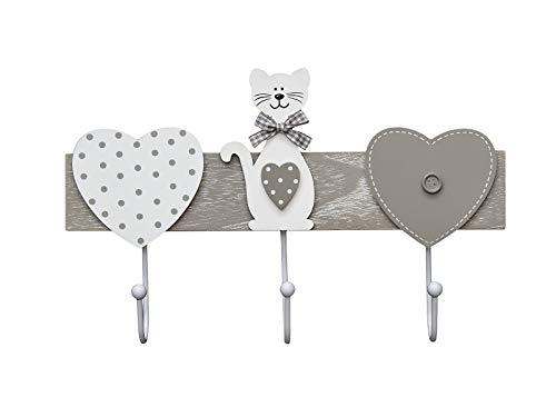 Perchero de pared colgador de pared 3 tres ganchos para pared o puerta, madera original diseño de gato y corazón en color gris y blanco Coat Hooks Wall Clothes Rack Cat Design