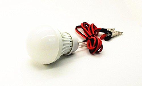 12Vmonster DC 6 V 3 Watt Bombilla LED lámpara de emergencia blanco puro 6400 K 6 V 1 Meter cableado y abrazaderas de la batería