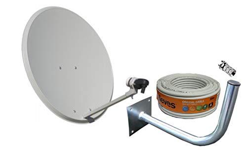Kit Antena PARABOLICA 60cm Marca Tecatel + Soporte Pared + Rollo 20m TELEVES + LNB Universal