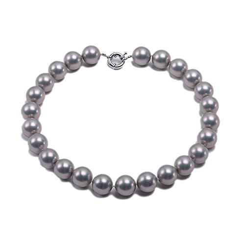 JYX Perlenkette Echte 18 mm Runde Grau Südsee Muschel Perlen Halskette für Damen 45 cm