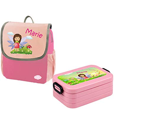 Mein Zwergenland Set 1 Kindergartenrucksack und Brotdose Happy Knirps NEXT mit Name Mädchen, 2-teilig, Pink
