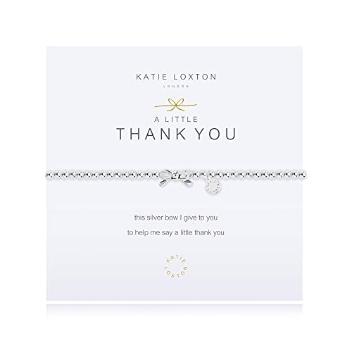 Katie Loxton A Little Thank You Bow Silver Women's Stretch Adjustable Charm Bangle Bracelet