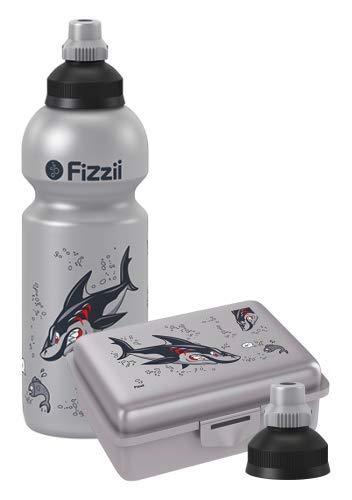 Fizzii Set Trinkflasche 600ml + Lunchbox inkl. Obst-/ Gemüsefach (schadstofffrei, spülmaschinenfest, Motiv: Hai)