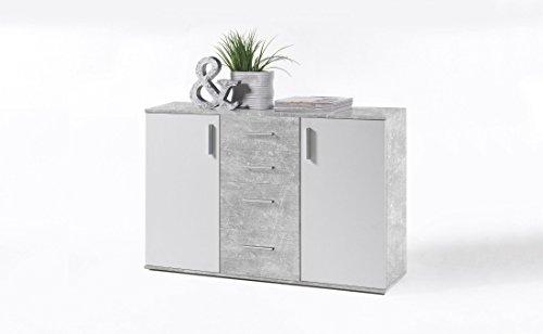 Stella Trading Kommode Weiß Beton Dekor, Kommode mit Schubladen BxHxT 120 x 82 x 35 cm