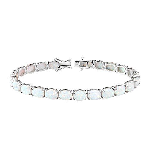 Franki Baker Beautiful White Created Fire Opal & 925 Sterling Silver Tennis Bracelet. Size: 19cm. Comes in Pretty Box