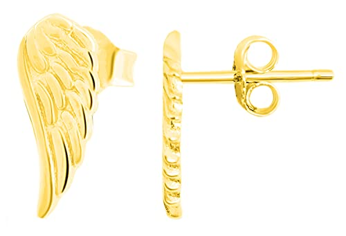 Pendientes de plata de ley 925 para mujer, diseño de alas doradas, 925/rodiada.