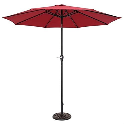 SKYWPOJU Parasol de jardín de 2,7 m, Parasol inclinable con manivela y Compacto de protección UV para pequeños Espacios al Aire Libre, Poste de Hierro, la Base no está incluida (Color : Red)