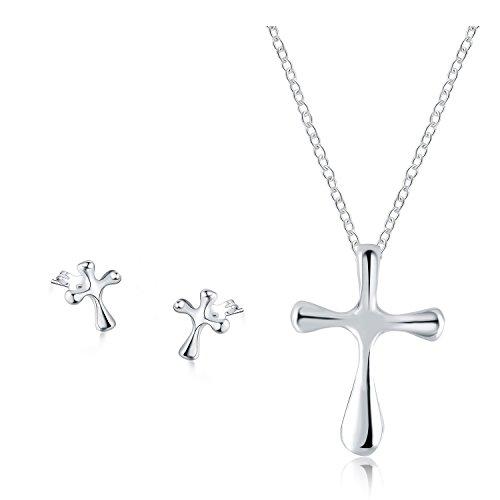 Sieraden Set – Religieuze Katholieke Kruis Geloof God Ketting Hanger en Stud Oorbellen voor Vrouwen Moeder Tiener Meisje - Mode Prime Gift 925 Sterling Verzilverd