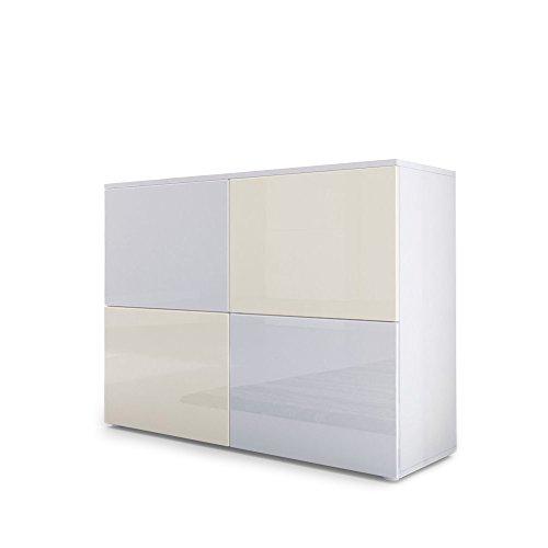 Cómoda Rova, Cuerpo en Blanco Mate/Puertas en Blanco de Alto Brillo y Crema de Alto Brillo