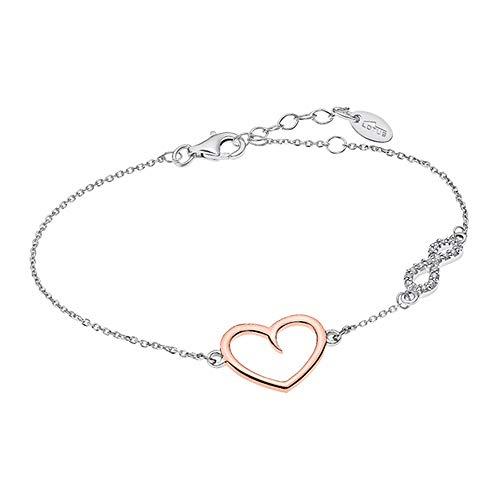 Lotus Silver Pulsera de plata 925 con corazón infinito, LP1819-2/2, circonitas, JLP1819-2-2