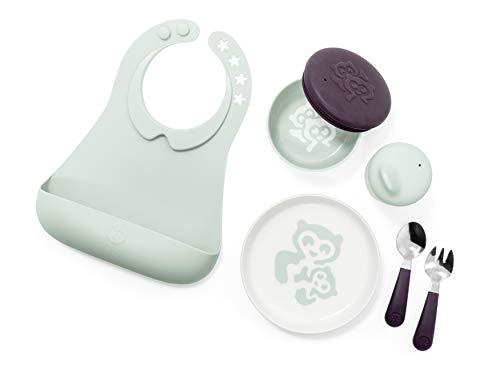 STOKKE® Munch™ Complete – Esslern-Set aus einem Schnabelbecher, einem Kinderteller, Gabel & Löffel, einer Schale und einem Lätzchen mit Auffangschale – Farbe: Soft Mint