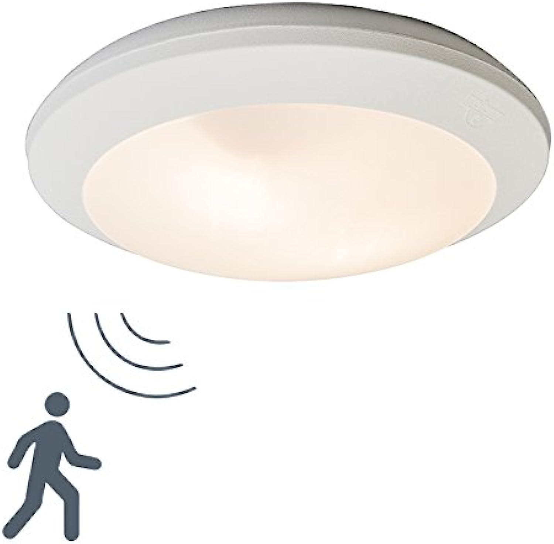 QAZQA Modern Auen Deckenleuchte Deckenlampe Lampe Leuchte Umberta wei rund Sensor Auenbeleuchtung Kunststoff Rund LED geeignet E27 Max. 2 x 60 Watt