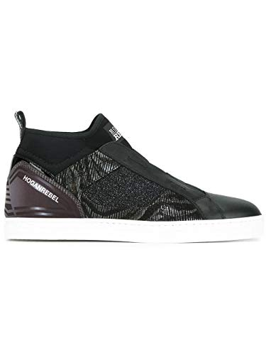 Luxury Fashion | Hogan Rebel Dames HXW1820V990ELV0564 Zwart Stof Hi Top Sneakers | Seizoen Outlet