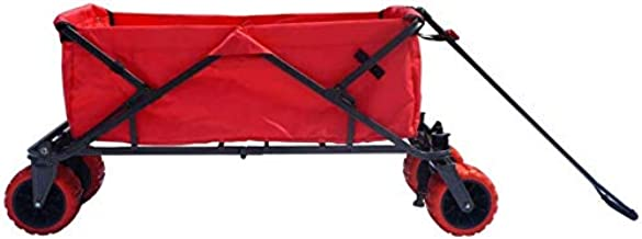 Impact Canopy Folding Collapsible Utility Wagon with All-Terrain Wheels, Red