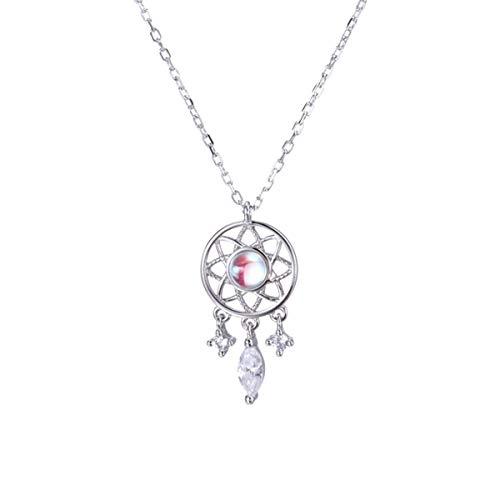 Collar De Piedra Lunar De Plata De Ley GLYP 925, Cadena De Clavícula Con Elemento Atrapasueños Femenino