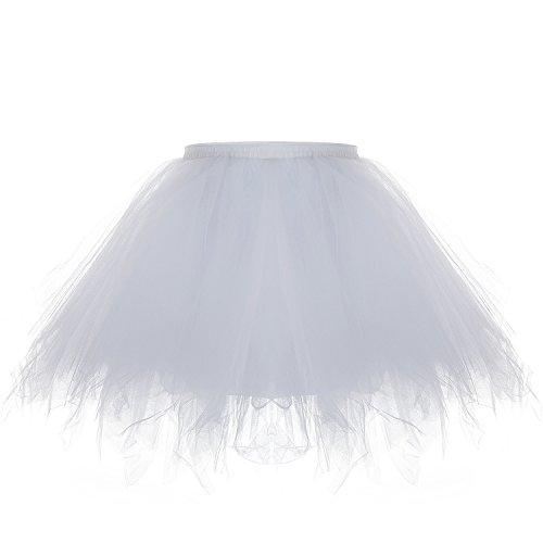 ZEWOO Damen Tutu Unterkleid Kurz Blase Ballett Tanzkleid Ballklei Abendkleid Zubehör (Weiß)