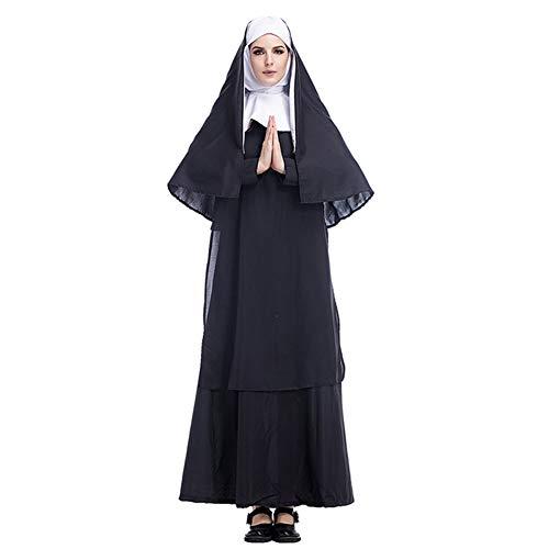 CAQQ - Disfraz de monja, vestido y tocado, talla XXL