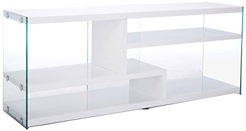 """Monarch Specialties Glossy with Tempered Glass TV Stand, 60"""", White"""