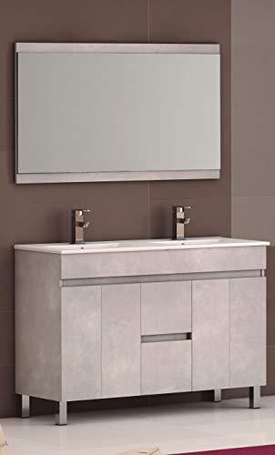 EL ALMACEN DEL PROFESIONAL Juego de Mueble de Baño Modelo Egipto Porcelana, Conjunto formado por Mueble de Baño Estilo Madera Color Plata Ancho 120cm, Lavabo de Porcelana y Espejo a Juego