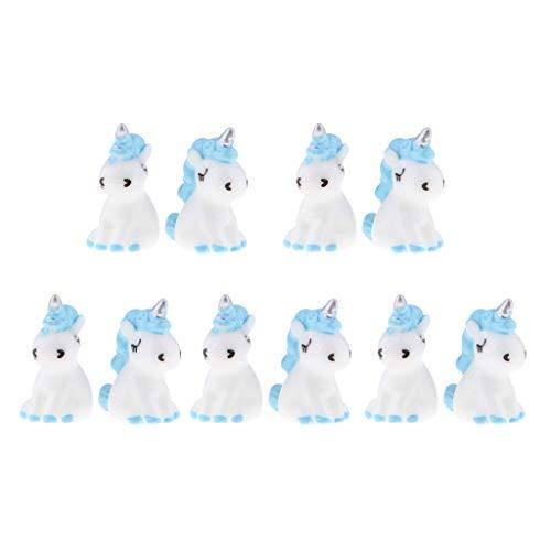 perfk 10 Stück Miniatur Einhorn Figur Mini Blau Einhorn Miniatur Fee Garten Puppenhaus Mikrolandschaft Ornamente Geschenk Für Kinder Spielzeug