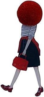 bijouxmodefashion - Spilla da donna divertente stile Cartoon testa palla lana rossa