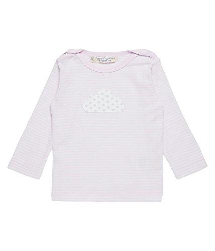 Sense Organics Luna Crew Langarmshirt T-Shirt Manches Longues, Multicolore (Rose Stripes + Cloud Appliqué 691003), 80 cm (Taille du Fabricant: 9M) Bébé garçon