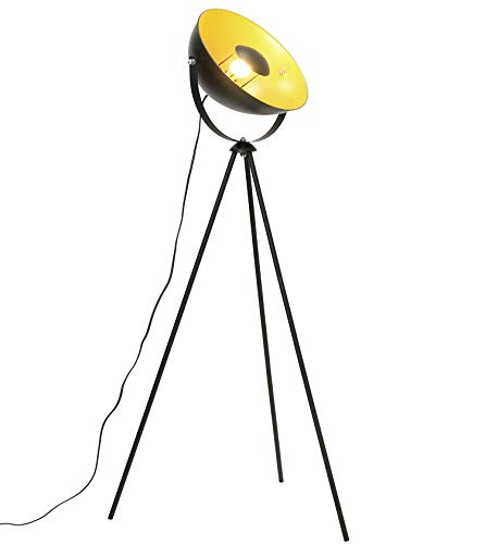 Lámpara de pie vintage - Lámpara de Suelo, pantalla negro-dorado Ø 34 cm, casquillo E27, Máx. 60W, diseño retro,147 cm lámpara de pie, interruptor de pie,metal,para salón, dormitorio y estudio