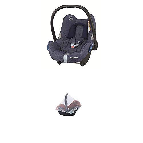 Maxi-Cosi Cabriofix, Babyschale Gruppe 0+ (0-13 kg), Sparkling Blue, ohne Isofix-Station + Moskitonetz passend für Kindersitz, Cabriofix, Pebble und Citi SPS