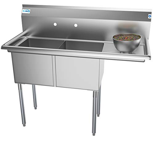 KoolMore - SB151512-15R3 2 Compartment Stainless Steel NSF Commercial Kitchen Prep & Utility Sink with Drainboard - Bowl Size 15