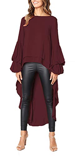 PRETTYGARDEN Women's Lantern Long Sleeve Round Neck High Low Asymmetrical Irregular Hem Casual Tops Blouse Shirt Dress (Wine Red, Medium)